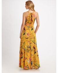 Leifsdottir | Orange Long Floral-print Silk Dress | Lyst