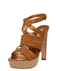 Miu Miu | Metallic Braided Espadrille-bottom Sandal | Lyst