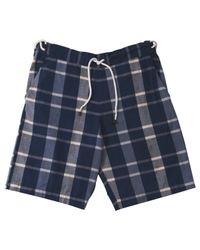 A.P.C. - Blue Navy Check Shorts for Men - Lyst