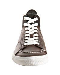 Prada | Sport Brown Leather Nylon Trim Hi Top Sneakers for Men | Lyst