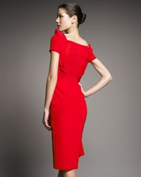 Zac Posen - Red Stretch-crepe Cascade Dress - Lyst