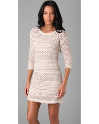 Tibi - White Crochet 3/4 Sleeve Dress - Lyst