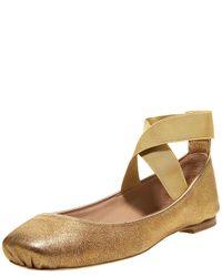 Chloé | Metallic Crisscross Ballerina Flat, Bronze | Lyst