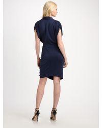 Catherine Malandrino - Blue Wrap-effect Silk-jersey Dress - Lyst