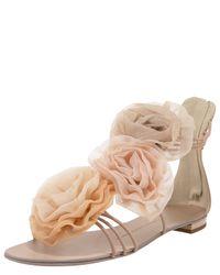 Giuseppe Zanotti | Natural Flower Back-zip Sandal | Lyst