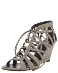 Giuseppe Zanotti | Gray Suede Cage Lace-up Wedge Sandal | Lyst