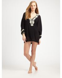 Joie Black A La Plage Bahamas Embroidered Cover-up
