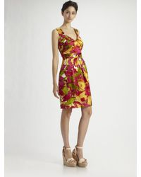 Kay Unger | Orange Tropical Print Silk Dress | Lyst
