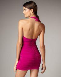 Marchesa | Pink Asymmetric-ruffle Halter Dress | Lyst