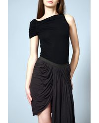 Rick Owens Lilies   Black Asymmetric Ruched Jersey Top   Lyst