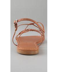 Sigerson Morrison | Brown Knotted Crisscross Flat Sandals | Lyst