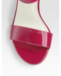 Stuart Weitzman - Red Patent Leather Cork Wedge Sandals - Lyst
