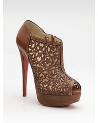Christian Louboutin | Brown Pampas Laser-cut Leather Ankle Boots | Lyst