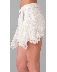 Jen Kao - White Mirage Peplum Shorts - Lyst