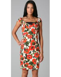 MILLY | Red Eva Rose Garden Dress | Lyst