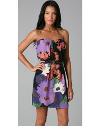 Tibi - Purple Strapless Print Dress - Lyst