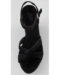 UGG | Black Arianna Wedge Sandals | Lyst