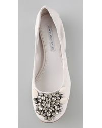 Vera Wang Lavender - White Lexi Jeweled Ballet Flats - Lyst