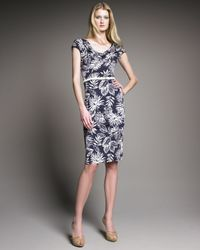 Dior - Blue Palm-print Silk Jersey Sheath Dress - Lyst