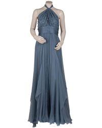 Eastland - Blue Chiffon Beaded Halter Gown - Lyst