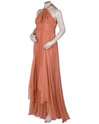 Eastland - Orange Chiffon Beaded Halter Gown - Lyst