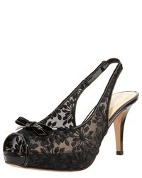 kate spade new york | Black Blush Daisy-embroidered Mesh Slingback | Lyst