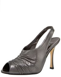Manolo Blahnik - Gray Ruched Metallic Slingback - Lyst