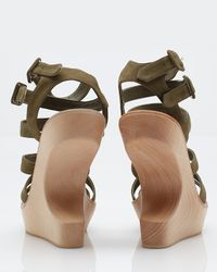 Opening Ceremony | Green Strappy Suede Wedge Sandals | Lyst