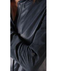 Elie Tahari | Blue Leather Celia Blouse | Lyst