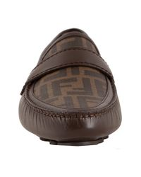 Fendi - Dark Brown Zucca Canvas and Leather Driving Loafers for Men - Lyst