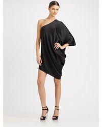 Halston | Black Side Drape Dress | Lyst