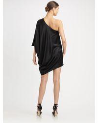 Halston - Black Side Drape Dress - Lyst
