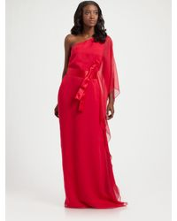 Jay Godfrey | Pink Silk One Shoulder Kimono Dress | Lyst