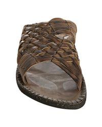 John Varvatos - Green Dark Ghurka Woven Leather Hurache Slide Sandals for Men - Lyst