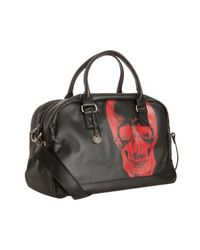 John Varvatos | Black Coated Canvas Red Skull Print Duffel for Men | Lyst