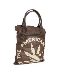 John Varvatos | Brown Coated Canvas Leaf Print Tote Shoulder Bag for Men | Lyst