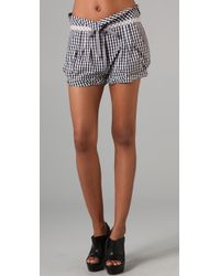 L.A.M.B. | Black Gingham Drawstring Shorts | Lyst
