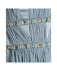 Marc Bouwer Glamit! - Ice Blue Beaded Charmeuse Chiffon Overlay Strapless Dress - Lyst