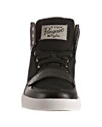 Original Penguin - Black Leather Trim Canvas Moby Hi-top Sneakers for Men - Lyst