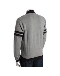 Original Penguin | Gray Rain Heather Cotton Stripe Sleeve Track Jacket for Men | Lyst