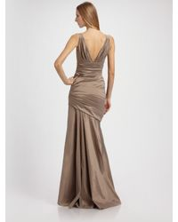 THEIA | Brown Shirred and Pleated Stretch Gown | Lyst