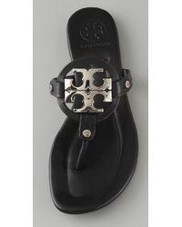 Tory Burch - Black Patent Leather Flat Sandals - Lyst