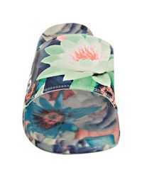 Y-3 | Adidas Blue Floral Leather Yohjilette Ii Slide Sandals for Men | Lyst