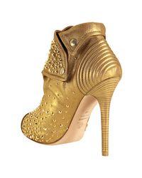 Alexander McQueen - Metallic Gold Leather Studded Zip Front Platform Booties - Lyst
