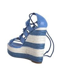 Balenciaga - Blue Cloud Leather Lace-up Espadrille Wedges - Lyst