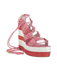 Balenciaga - Pink Grenadine Leather Lace-up Espadrille Wedges - Lyst