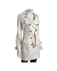 Elie Tahari - White Cotton Seed Woven Lily Packable Trench Coat - Lyst