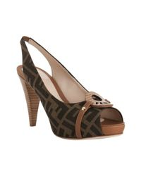 Fendi | Brown Tobacco Zucca Canvas Platform Slingback Sandals | Lyst