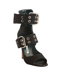 Manolo Blahnik - Black Canvas Charly Grommet Detail Sandals - Lyst