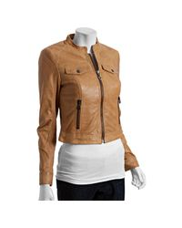 Marc New York | Natural Sand Washed Leather Zip Front Moto Jacket | Lyst